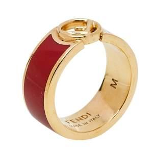 Fendi F is Fendi Red Enamel Band Ring M