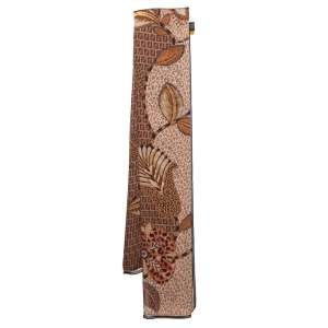 Fendi Brown Zucca Monogram Floral Printed Silk Scarf