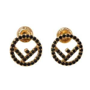 Fendi F is Fendi Black Crystal Stud Earrings