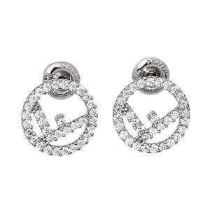 Fendi F Is Fendi Crystal Palladium Finished Stud Earrings