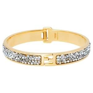 Fendi Fendista Crystal Gold Tone Bracelet S