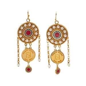 Fendi Gold Tone Beaded Drop Hook Earrings
