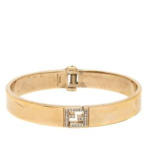 Fendi The Fendista Crystal Gold Tone Bracelet S