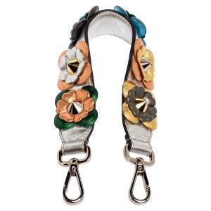 Fendi Multicolor Floral Applique Leather Mini Strap You Shoulder Bag Strap