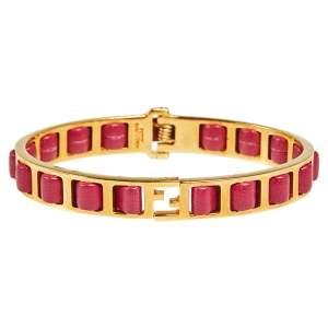Fendi Gold Tone Pink Leather The Fendista Bracelet L