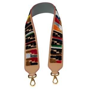 Fendi Multicolor Zucca Velvet and Leather Strap You Guitar Bag Strap