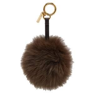Fendi Brown Fox Fur Pom Pom Bag Charm