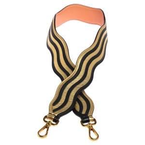 Fendi Gold/Black Leather Wave Stripe Strap You Shoulder Bag Strap