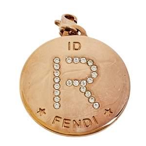 Fendi Identification Gold Tone Crystal 'R' Charm