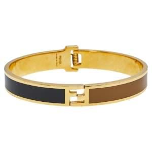 Fendi The Fendista Gold Tone Bicolor Enamel Cuff Bracelet M