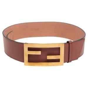 Fendi Brown Leather FF Buckle Wide Waist Belt 85CM