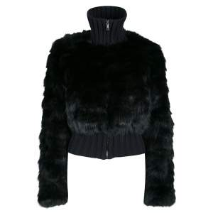 Fendi Black Cashmere and Fox Fur Zip Front Bomber Jacket S