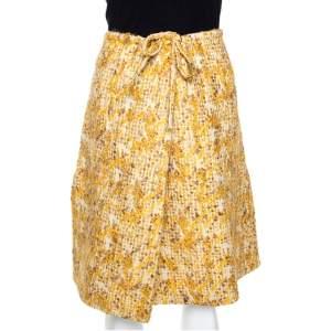 Fendi Yellow Tweed Side Slit Detail Midi Skirt S