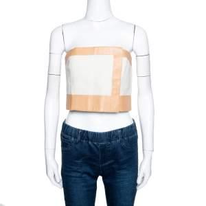 Fendi Off White Linen Cotton Leather Trim Bustier Top M