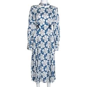 Fendi Blue Floral Printed Silk Cutout Detail Midi Dress M