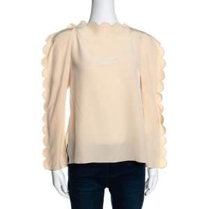 Fendi Cream Silk Scalloped Long Sleeve Blouse S