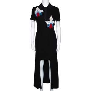 Fendi Black Floral Embroidered Crepe Cutout Detail Dress S