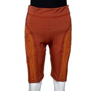 Fendi Burnt Orange Logo Embossed Cycling Shorts M
