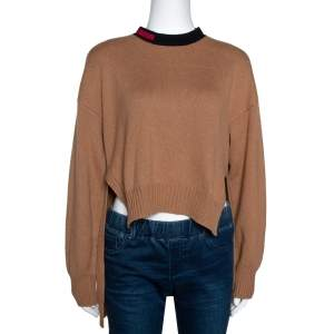 Fendi Sand Brown Cashmere Blend MCMXXV Detail Asymmetric Sweater M