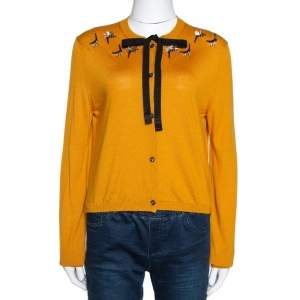 Fendi Mustard Yellow Cashmere Silk Neck Tie Detail Embellished Cardigan M