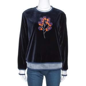 Fendi Dark Blue Velvet Mink Fur Floral Appliqued Top M