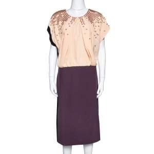 Fendi Colorblock Silk Crepe Embellished Bodice Midi Dress L