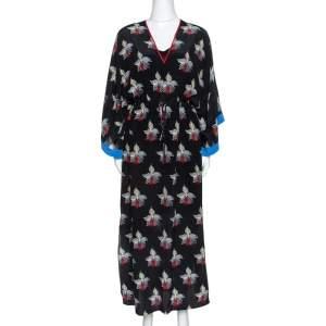 Fendi Black Orchid Print Silk Oversized Maxi Kaftan S