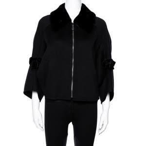 Fendi Black Wool Mink Collar Cropped Cape Jacket M
