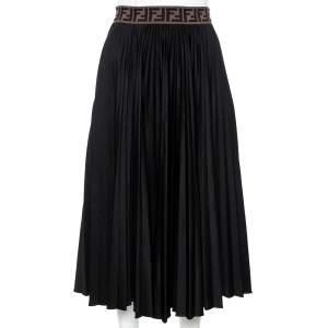 Fendi Black Techno Jersey FF Logo Trim Pleated Skirt S
