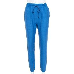 Fendi Blue Wool & Silk Elasticized Waist Trousers S