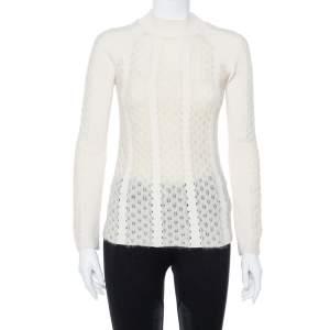 Fendi Off White Knit Paneled Sweater Raglan Sleeve Jumper S