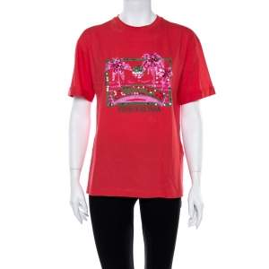 Fendi Coral Pink Cotton Sequin Embellished T Shirt XS