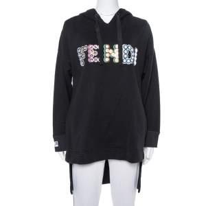 Fendi Black Cotton Logo Studded Long Hoodie S