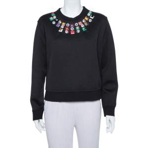 Fendi Black Knit Embellished Neck Detail Cropped Sweatshirt M
