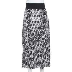 Fendi Monochrome Silk Side Slit Detail Midi Skirt S