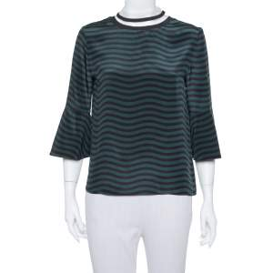 Fendi Dark Green & Black Wave Striped Silk Sheer Turtleneck Top S