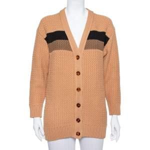 Fendi Brown Cable Knit Stripe Detail Cardigan XS