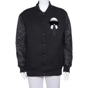 Fendi Karlito Black Logo Applique Detail Quilted Down Bomber Jacket M