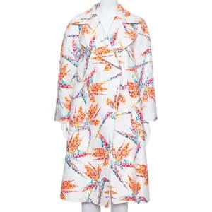Fendi White Jacquard Birds Of Paradise Print Oversized Coat S