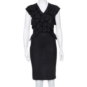 Fendi Black Wool Ruffle Detail Sheath Dress S
