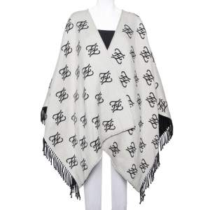 Fendi Grey Logo Intarsia Knit Fringed Poncho (One Size)