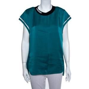 Fendi Teal Green Satin Mesh & Shoulder Pad Detail Oversized Top M