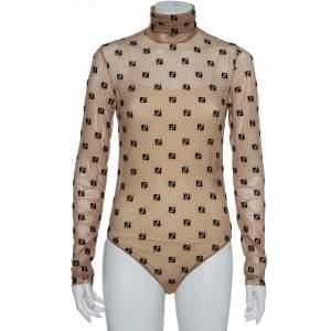 Fendi Beige Tulle Logo Embroidered High Neck Sheer Bodysuit S