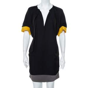 Fendi Color Block Silk Oversized Shift Dress S