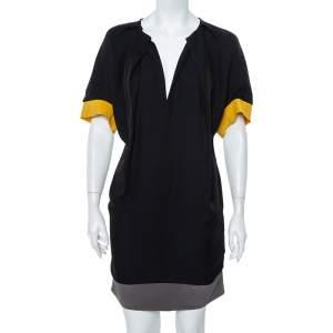 فستان فندي حرير كتل لونية واسع مقاس صغير - سمول