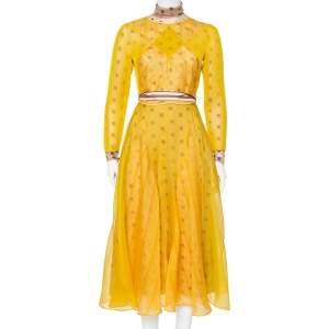 فستان فندي متوسط الطول حزام طبقة شبك و شفافة مطرز شعار الماركة أصفر مقاس صغير (سمول)