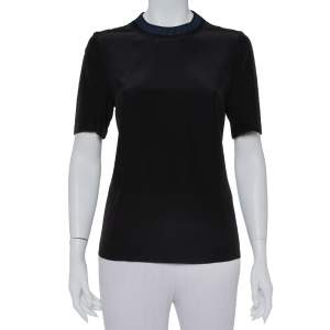 Fendi Black Silk Ribbed Logo Neck Trim Detail Top M