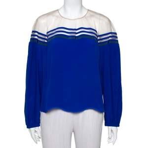 Fendi Blue Silk Tulle Illusion Long Sleeve Blouse L