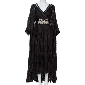 Fendi Black Daisy Fil Coupe Slit Detail Belted Kaftan Maxi Dress M