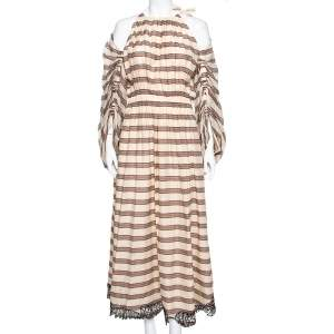 Fendi Beige Striped Cotton & Silk Cut Out Sleeve Detail Maxi Dress M